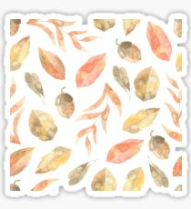 Warm orange, yellow and brown plant and tree leaves and Oak tree acorns watercolour pattern Sticker