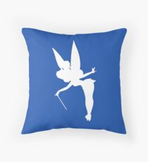 White Tinker Bell Silhouette Throw Pillow