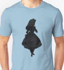 Alice in Wonderland, Black Picture Silhouette Unisex T-Shirt