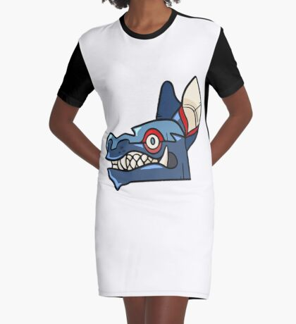 Tribal Wolf Mask Graphic T-Shirt Dress