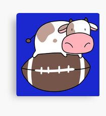Tiny Cow and Football Canvas Print