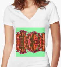 Surreal Cactus Art Women's Fitted V-Neck T-Shirt