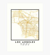 LOS ANGELES CALIFORNIA CITY STREET MAP ART Art Print