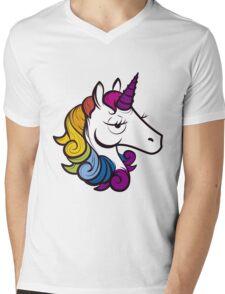 Unicorn Arcoiris Mens V-Neck T-Shirt