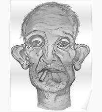 Old Man Smoking Cigarette Poster