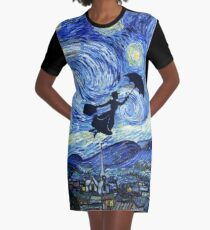 Mary Poppins Starry Night Graphic T-Shirt Dress