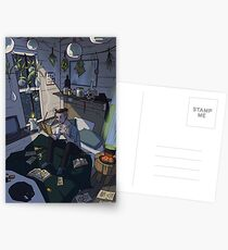 Modern Male Witch Bedroom Postcards