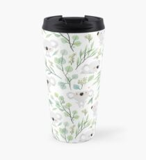 Koala and Eucalyptus Pattern Travel Mug