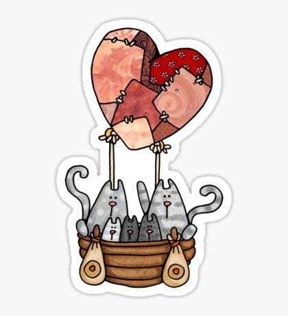 Kitty Love Balloon Sticker