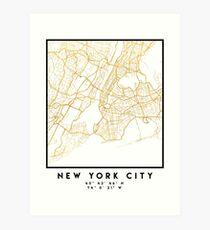NEW YORK STADT NEW YORK STADT STRASSENKARTE ART Kunstdruck