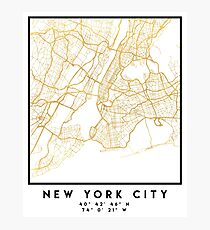 NEW YORK CITY NEW YORK CITY STREET MAP ART Photographic Print