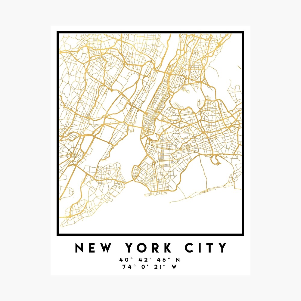 CIUDAD DE NUEVA YORK CIUDAD DE NUEVA YORK CALLE MAPA ARTE Lámina fotográfica