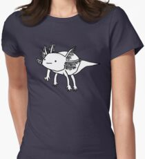 cute happy floaty axolotol print Women's Fitted T-Shirt