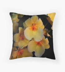 Yellow Orchid Cluster  Throw Pillow