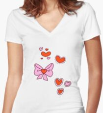 Valentine Hearts and Bows Women's Fitted V-Neck T-Shirt