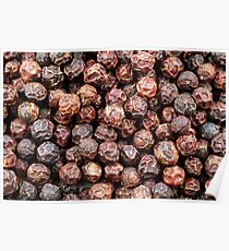 A close up image of whole black peppercorns Poster