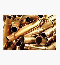 Empty, used, assorted, spent brass bullet casings Photographic Print