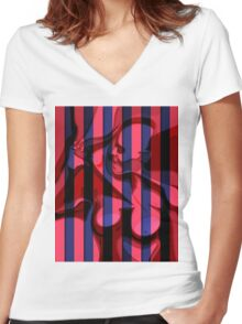 latex sexy girl costume silhouette bdsm illustration Women's Fitted V-Neck T-Shirt