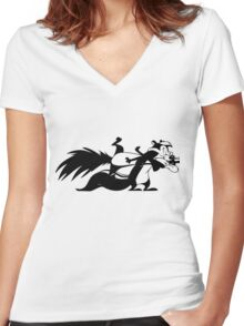 Pepe Le Pew Women's Fitted V-Neck T-Shirt