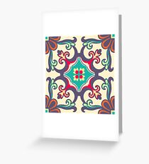 Seamless Colourful Ornament Tiles Greeting Card