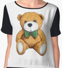 Cute Teddy Bear, Original Painting, Polka Dotted Bow Tie Women's Chiffon Top