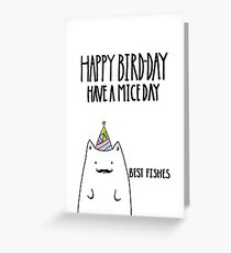 Punny Cat, Happy Bird-Day Greeting Card