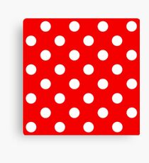Red and White Dot Pattern Canvas Print
