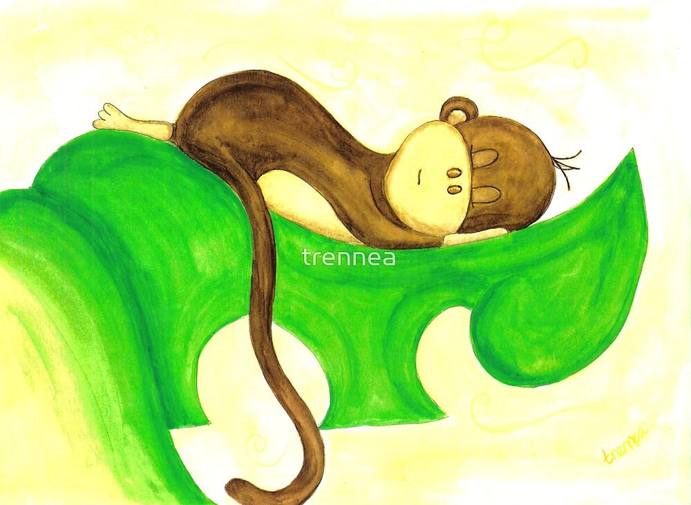 Sleeping Baby Monkey by trennea