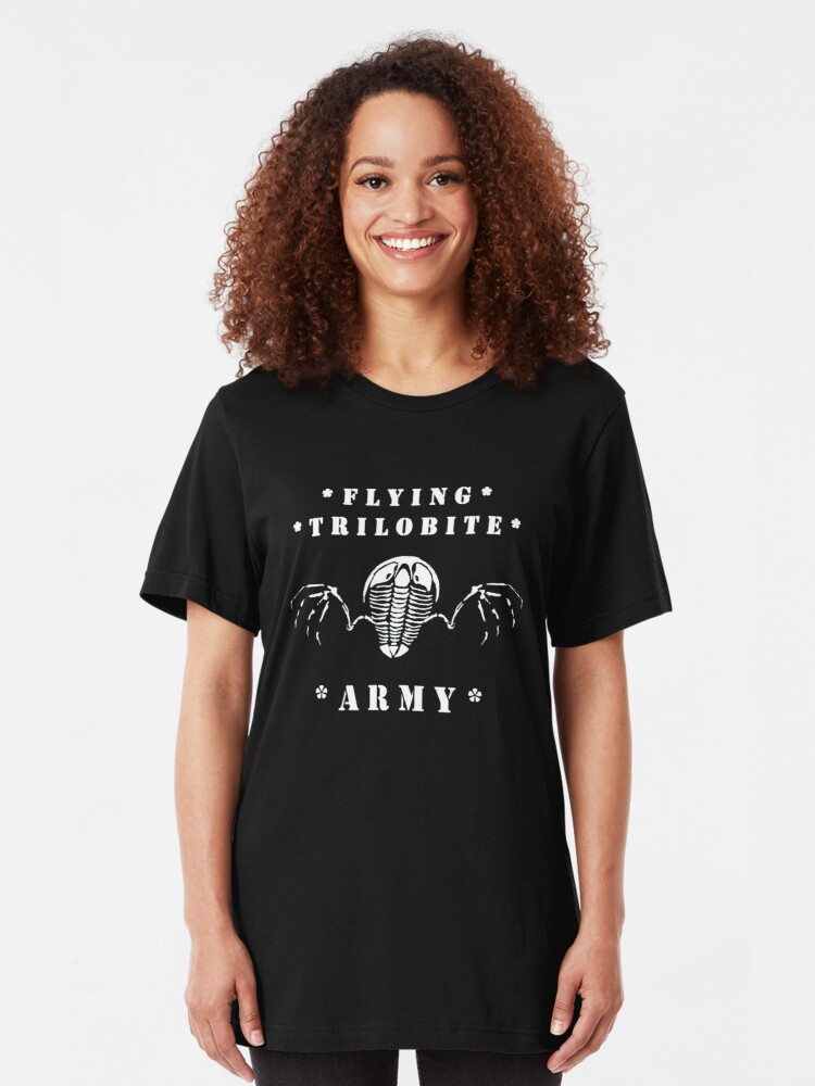 Alternate view of Flying Trilobite Army - white Slim Fit T-Shirt