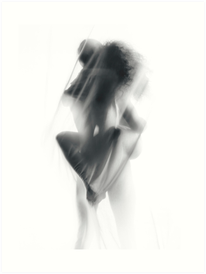 Sensual Nude Couple Making Love In Glowing White Mist Art Print By Awenartprints