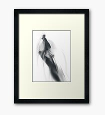 Nude woman standing behind sheer cloth with her hands tied art print Framed Print