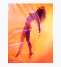 Beautiful nude woman silhouette floating behind sheer surreal glowing veil art print Photographic Print
