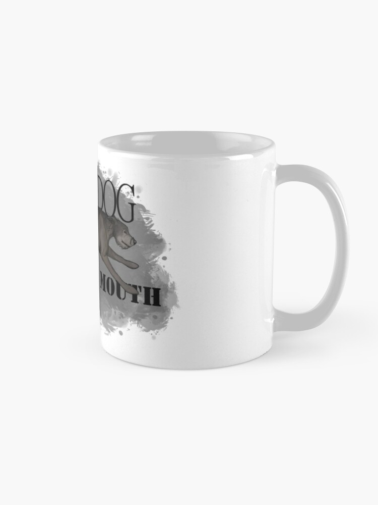 Alternate view of Run Your Dog Not Your Mouth Irish Wolfhound Grey Mug