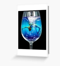 Glass, Diver, Hard, Unreal, Crazy Greeting Card