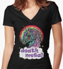 Zombie Unicorn Death Metal Women's Fitted V-Neck T-Shirt
