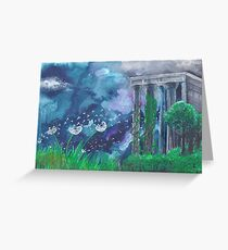 Dandelions and the Greek Temple Greeting Card