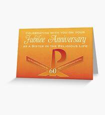 60th Jubilee Anniversary Nun Pax Cross, Orange and Yellow Greeting Card