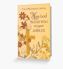 Jubilee Anniversary Nun Cross, Swirls, Flowers & Leaves Greeting Card