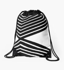 Mid Century Bold Zebra Lines and Shapes Drawstring Bag