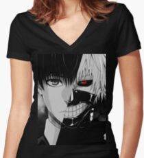 Kaneki/Ghoul Women's Fitted V-Neck T-Shirt
