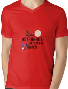 Astronauts are born in March Rqfu2 Mens V-Neck T-Shirt