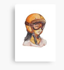 Orange Helmet Girls Canvas Print