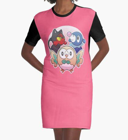 Rowlet, Litten, and Popplio Graphic T-Shirt Dress