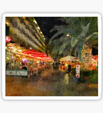 Night scene, Puerto De la Cruz, Tenerife  Sticker