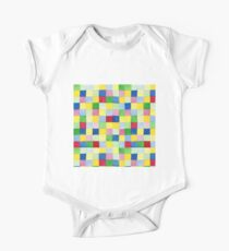 Colourful check rainbow colours patchwork pattern watercolour painting One Piece - Short Sleeve