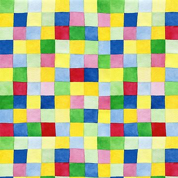 Colourful check rainbow colours patchwork pattern watercolour painting by Mindreader