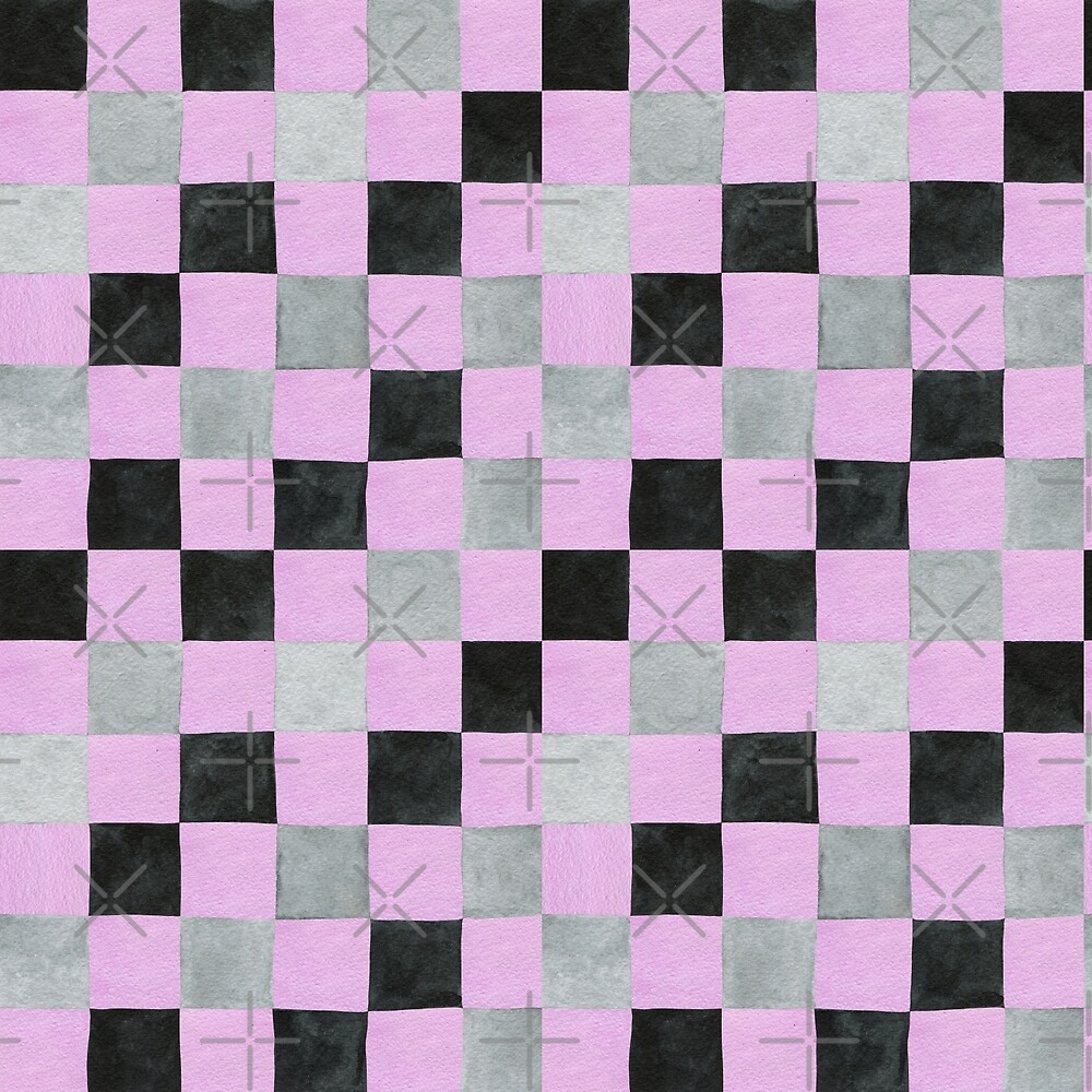 Colourful check pink, black and grey colours patchwork pattern watercolour painting by Sandra O'Connor