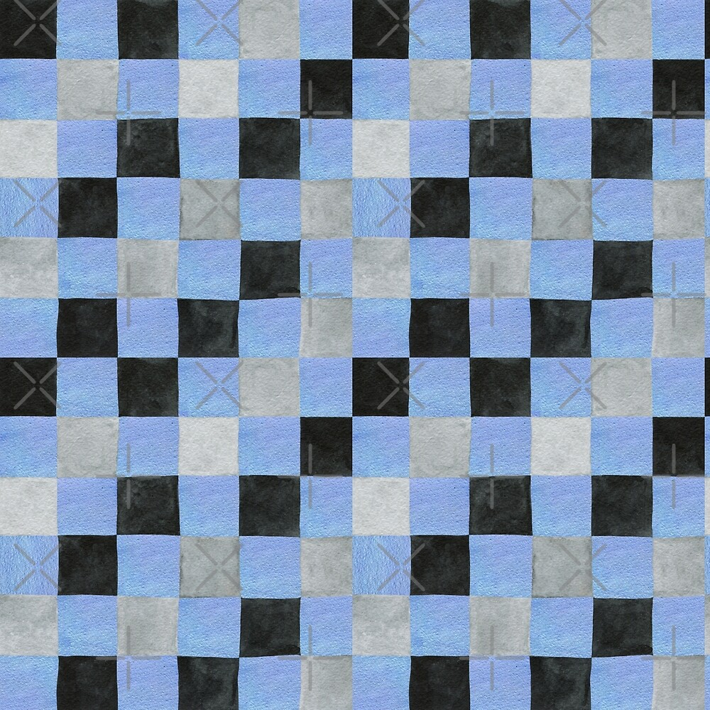 Colourful square check in pale blue, black and grey colours patchwork pattern watercolour painting by Sandra O'Connor