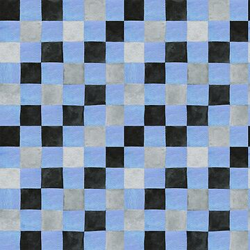 Colourful square check in pale blue, black and grey colours patchwork pattern watercolour painting by Mindreader