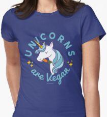 Unicorn TShirt - Unicorns are Vegan (Magic Blue) Womens Fitted T-Shirt